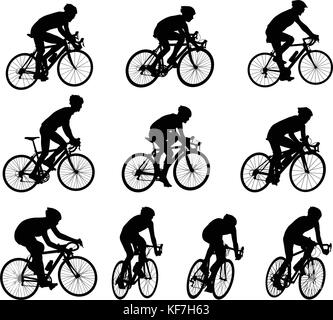 10 high quality race bicyclists silhouettes - vector - Stock Photo