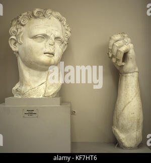 Domitian (51-96 AD). Roman emperor from 81-96. Flavian dynasty. Parts of a monumental statue. Museum of Ephesus. - Stock Photo