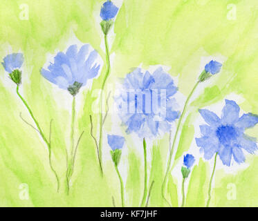 Hand painted flower on paper - Stock Photo