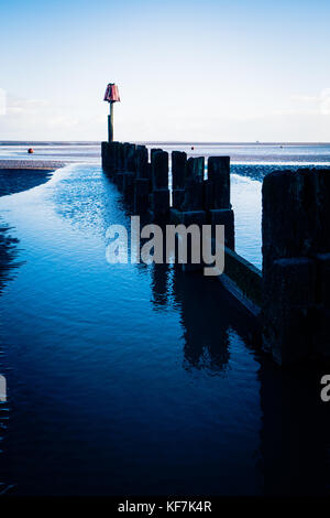 Landscape at low tide in Cleethorpes - Stock Photo