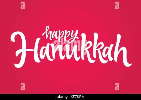 Happy Hanukkah - vector hand drawn brush lettering - Stock Photo