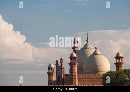 The Emperor's Mosque - Badshahi Masjid in Lahore, Pakistan Dome with Minarets - Stock Photo