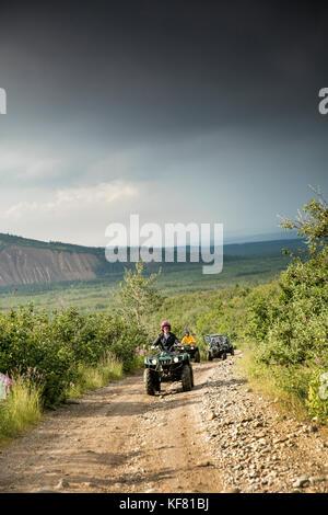 USA, Alaska, Denali National Park, ATV tour to Stampede Ridge which takes you through the taiga to picturesque panoramas - Stock Photo