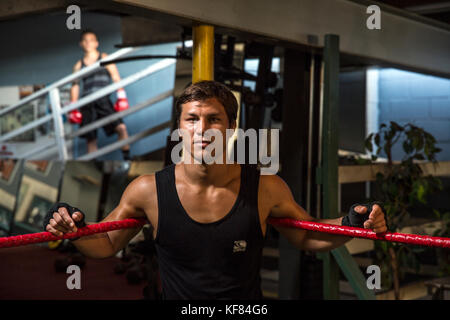 USA, Oahu, Hawaii, portrait of MMA Mixed Martial Arts Ultimate fighter Lowen Tynanes at his training gym in Honolulu - Stock Photo