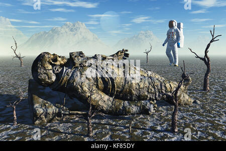 Search & Find Space Mission, On An Alien Planet - Stock Photo