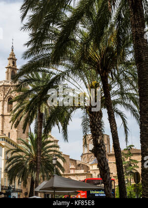 Skyline at Plaza de la Reina with Valencia Cathedral (centre) and its bell tower, el Miguelete (left), Ciutat Vella, - Stock Photo