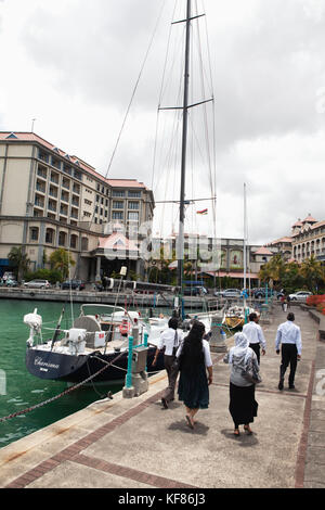 MAURITIUS, the waterfront in the business district, the capital city of Port Louis - Stock Photo