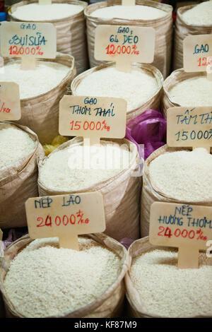 VIETNAM, Saigon, Ben Thanh Market, varieties of rice for sale, Ho Chi Minh City - Stock Photo