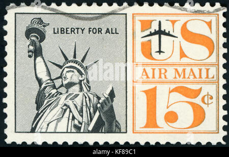 Postage stamp - US Air mail - Stock Photo