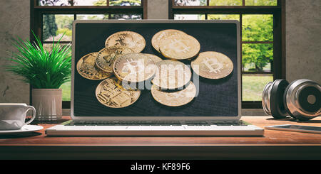 Laptop with bitcoin screen and silver color placed on a wooden desk, Room with a window overlooking the beautiful - Stock Photo
