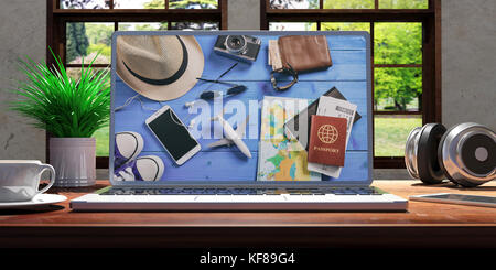 Laptop with travel screen and silver color placed on a wooden desk, Room with a window overlooking the beautiful - Stock Photo