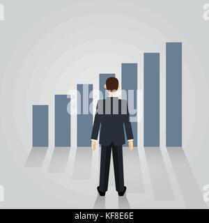 Businessman watching Growth graph, for Career planning concept. man in suit standing back view on charts. Vector - Stock Photo
