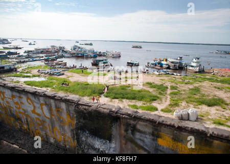 BRAZIL, Manaus, boats parked along the Amazon River, bringing fish and produce to sell at the Manaus market - Stock Photo