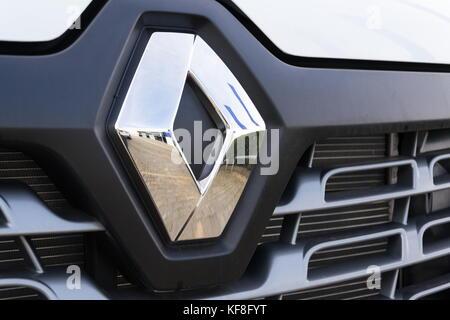 PRAGUE, CZECH REPUBLIC - OCTOBER 25: Renault company logo on car on October 25, 2017 in Prague. Renault beat expectations - Stock Photo