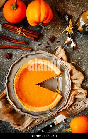 Pumpkin pie, top view - Stock Photo
