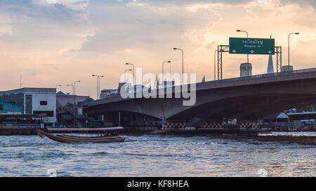 23 October, 2017 - Bangkok, Thailand: Chao Phraya River at sunset - Stock Photo