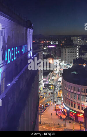 Britannia Adelphi Hotel  blue neon sign & view looking down from above at Liverpool city centre & Ranelagh Street - Stock Photo