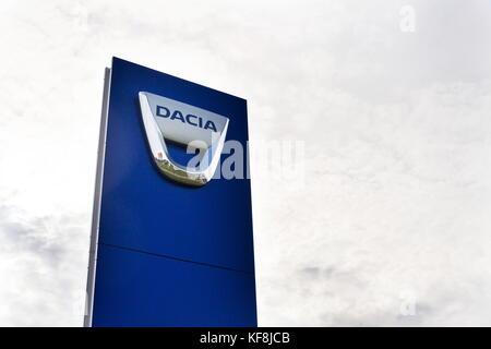 PRAGUE, CZECH REPUBLIC - OCTOBER 25: Dacia company logo on dealership building on October 25, 2017 in Prague. - Stock Photo