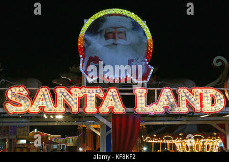 LONDON, UNITED KINGDOM - NOVEMBER 22: Santa Land Christmas Market in London on NOVEMBER 22, 2013. Big Santa Sign - Stock Photo