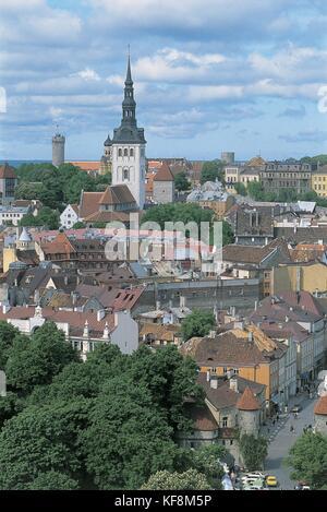 Estonia, Tallinn, Old Town (Vanalinn), UNESCO's World Heritage Site, 1997, Panoramic view - Stock Photo