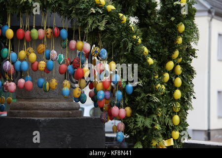 Fountain decorated Easter eggs / Well decorated Easter eggs - Stock Photo