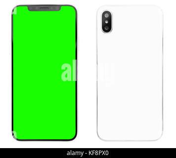 New smart phone looks like Iphone X model isolated on white background.Modern smartphone device.Mobile phone,chroma - Stock Photo