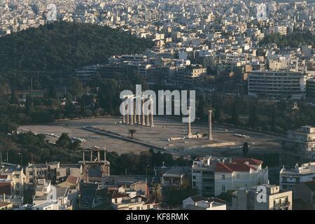 Greece, Attica, Athens. Olimpieion as seen from Acropolis - Stock Photo