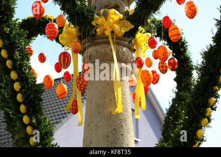 Easter eggs. Easter fountain decorated with Easter eggs. - Stock Photo