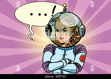 Comic illustration of angry woman astronaut - Stock Photo
