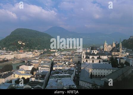 Austria, Salzburg (UNESCO's World Heritage Site, 1996). View from Monchsberg - Stock Photo