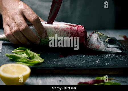 closeup of a young caucasian man cutting a raw fresh mackerel with a knife, on a slate tray placed on a rustic wooden - Stock Photo