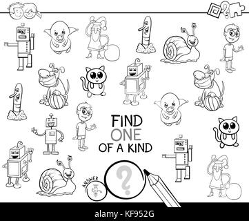 Black and White Cartoon Illustration of Find One of a Kind Educational Activity Game for Children with Comic Characters - Stock Photo