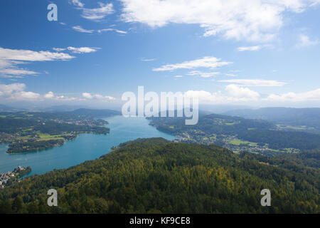 View from observation tower Pyramidenkogel To Lake Woerth,Carinthia,Austria - Stock Photo