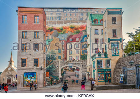 ... Wall Mural, Notre Dame Street, Quebec City, Canada   Stock Photo Part 90