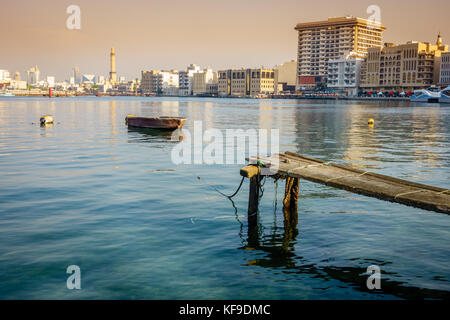 View of Dubai Creek and Deira skyline - Stock Photo