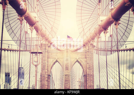 Vintage toned picture of Brooklyn Bridge, New York City, USA. - Stock Photo