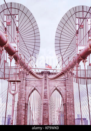 Vintage filtered picture of Brooklyn Bridge, one of New York City symbols, USA. - Stock Photo