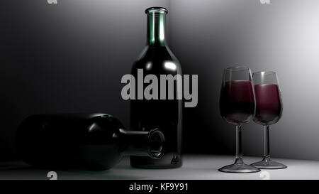 Red wine in the glasses - 3D rendering - Stock Photo
