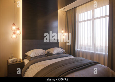 3d illustration of a bedroom interior design in a Scandinavian modern style. Render interior for the catalog with real furniture.
