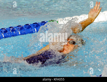 US swimmer Natalie Coughlin during her victory in  the women's 100 meter backstroke at the U.S. Olympic Swimming - Stock Photo