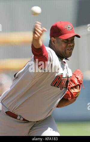 Arizona Diamondbacks' Livan Hernandez pitches against the Los Angeles Dodgers during the first inning of a baseball - Stock Photo