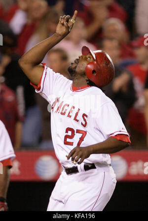 Los Angeles Angels' Vladimir Guerrero points to the sky while crossing home after hitting a two-run homer off  Tampa Bay Rays pitcher James Shields during the fifth inning of a baseball game in Anaheim, Calif. on Tuesday, June 10, 2008. Photo by Francis Specker