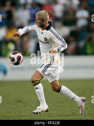 Los Angeles Galaxy's David Beckham plays against Chelsea  at the Home Depot Center in Carson, CA on Saturday, July - Stock Photo