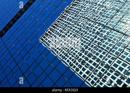 Abstract view of Chicago skyscrapers with reflections