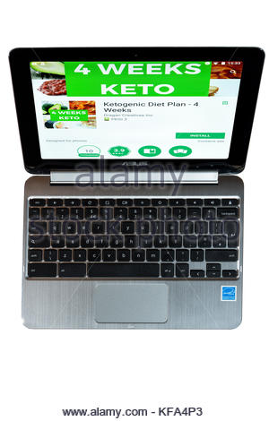 4 Weeks Keto diet app on a Chromebook screen. Cut out on white background, Dorset, England - Stock Photo