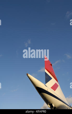 tail of a British Airways Aerospatiale BAC Concorde - Stock Photo