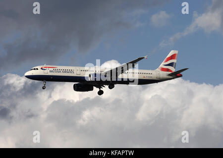 a British Airways Airbus A321-200 on final-approach - Stock Photo