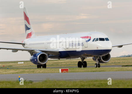 a British Airways - BA, UK Airbus A321-231 taxiing - Stock Photo
