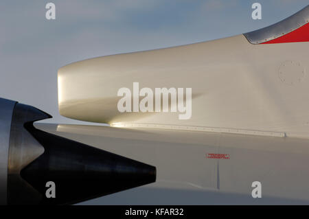engine exhaust and tail of the Northwest Airlink - Mesaba Airlines, USA Bombardier CRJ-900 Next Generation parked - Stock Photo
