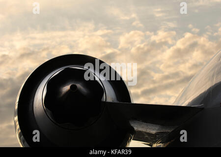 engine exhaust on the Northwest Airlink - Mesaba Airlines, USA Bombardier CRJ-900 Next Generation parked in the - Stock Photo